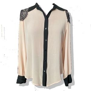 Feminine Pale Pink and Black Lace button up Small